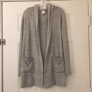 Long soft gray open hooded cardigan
